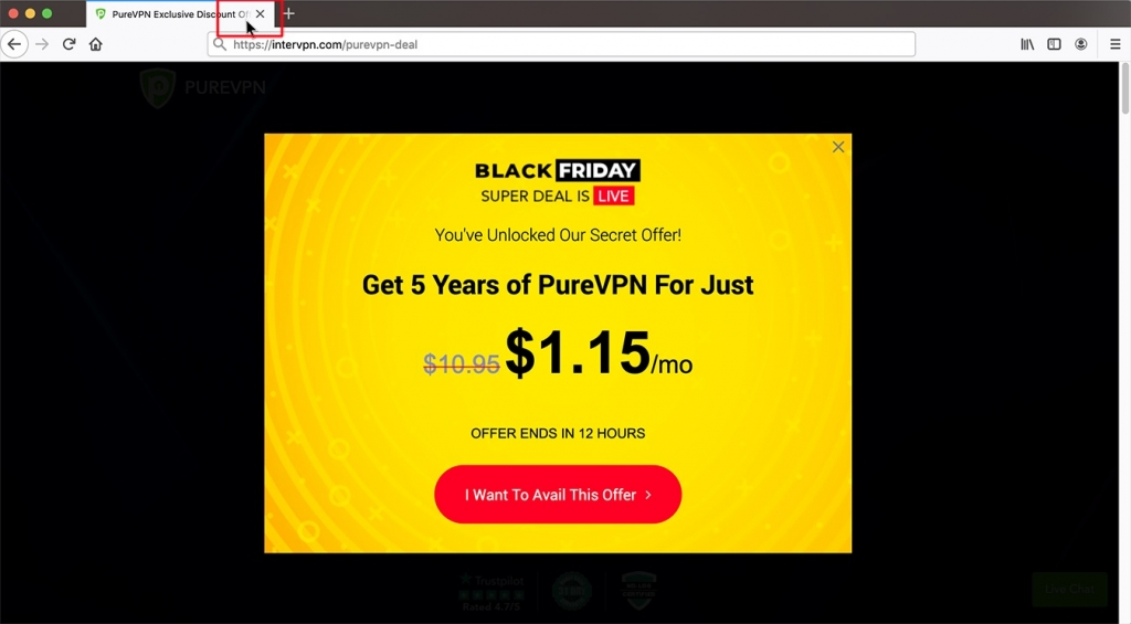 black friday 88% off purevpn 5 years