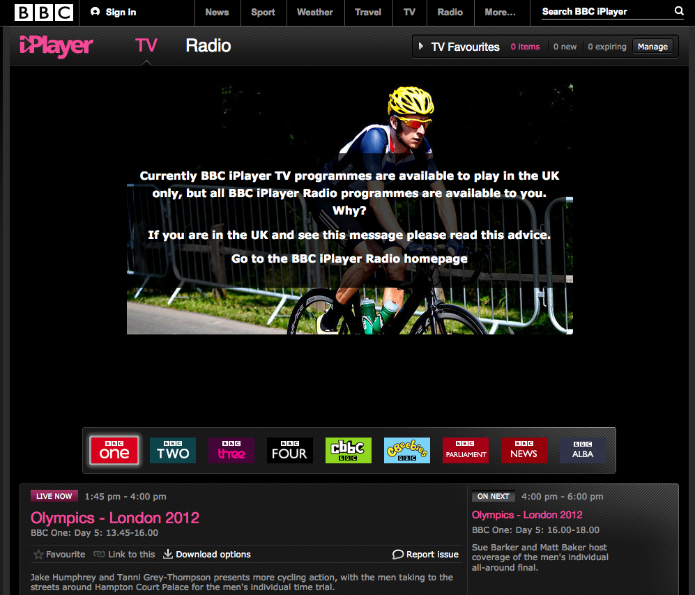 Watch BBCiPlayer outside UK - Live TV Olympics games
