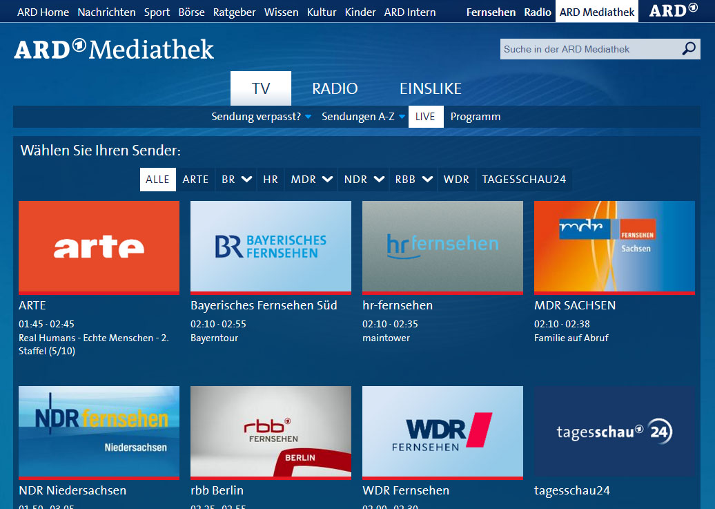 ARD mediathek live not availble - GeoBlocked