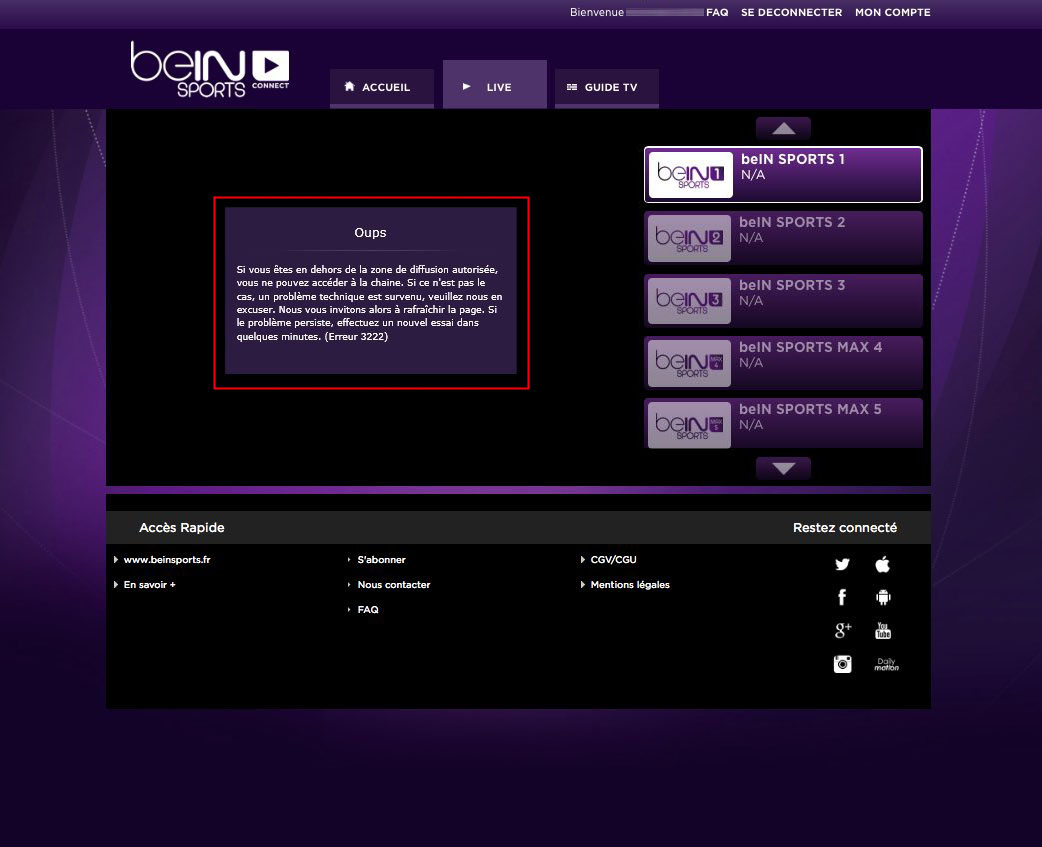 Unblock Bein Sports Connect France GeoBlocked error-6