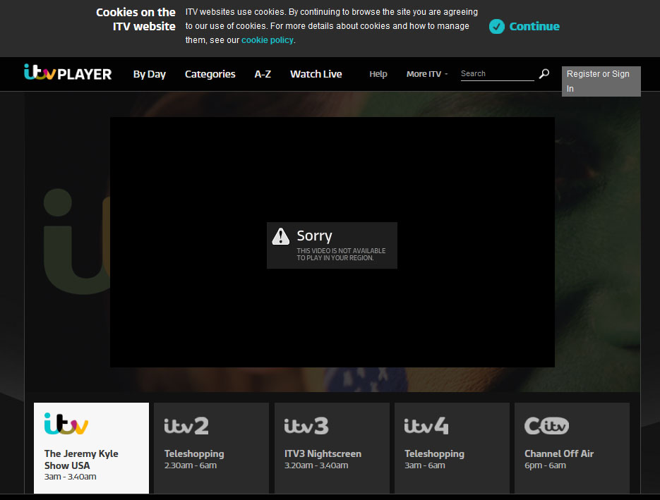 itv not availble - GeoBlocked
