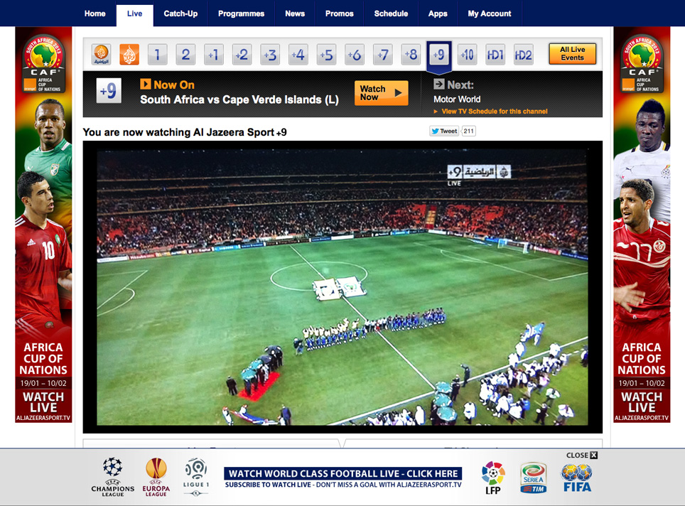 Unblock Al Jazeera Sport GeoBlocked error open - Watch Live African Cup 2013