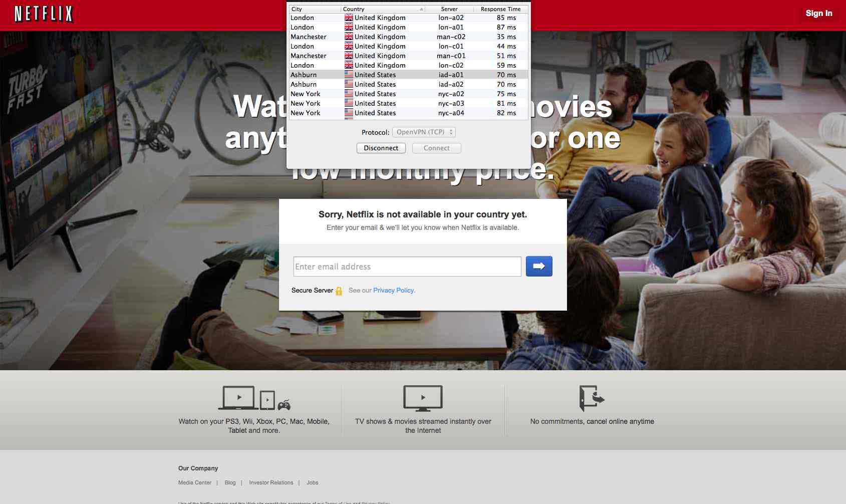 Unblock Netflix - VPN connected
