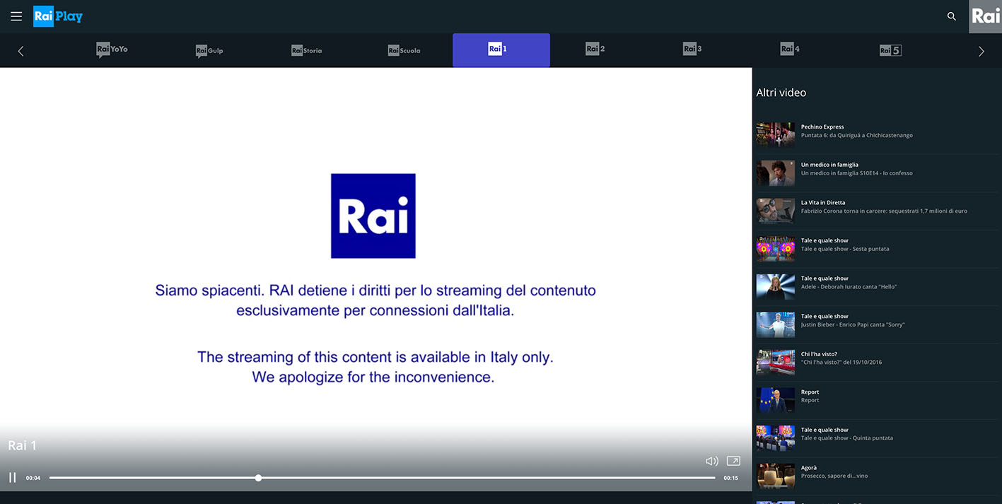 How To Unblock Rai Tv Online Channels Outside Italy Rai Play