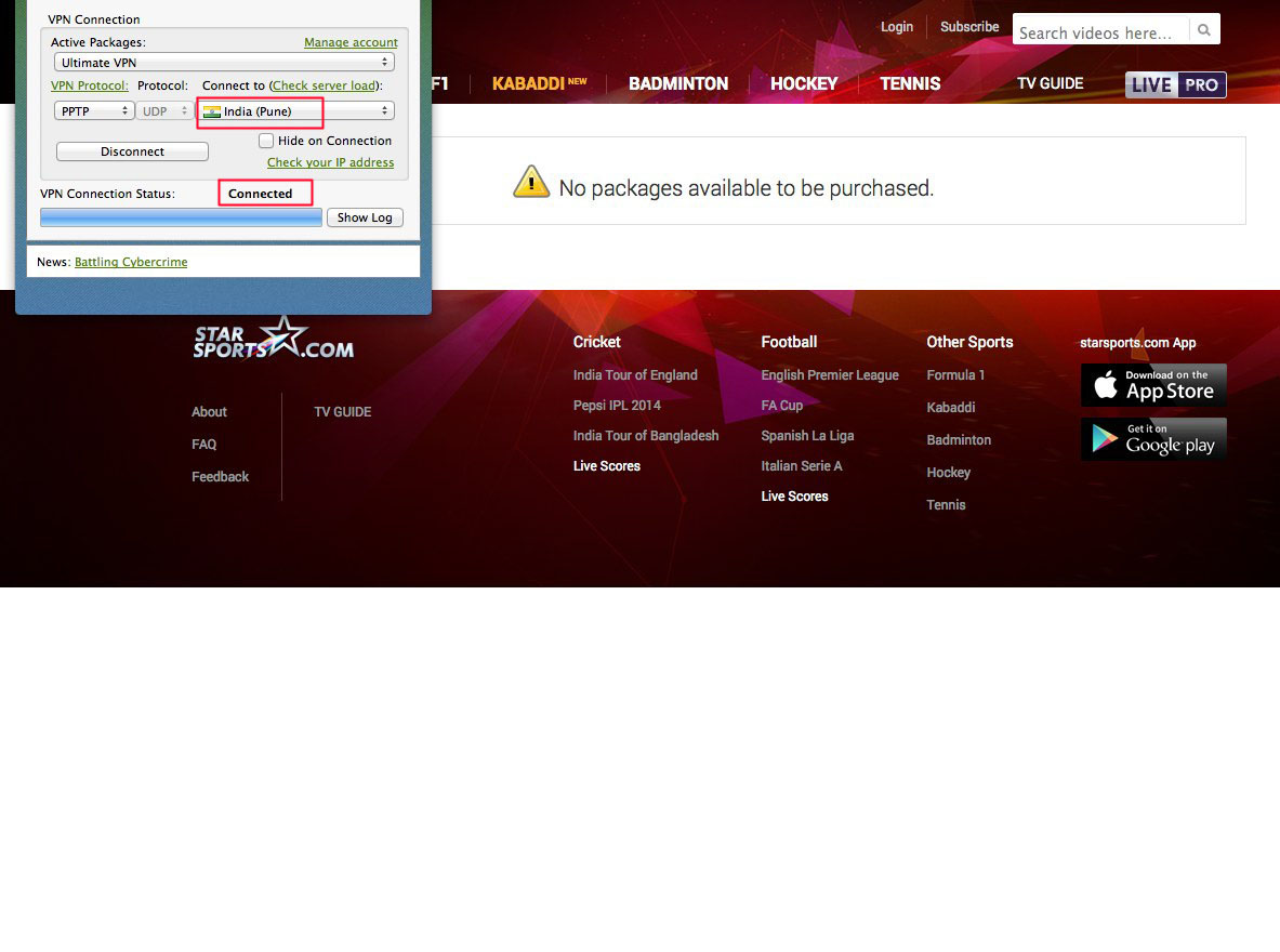 india server VPN to unblock Star Sports free