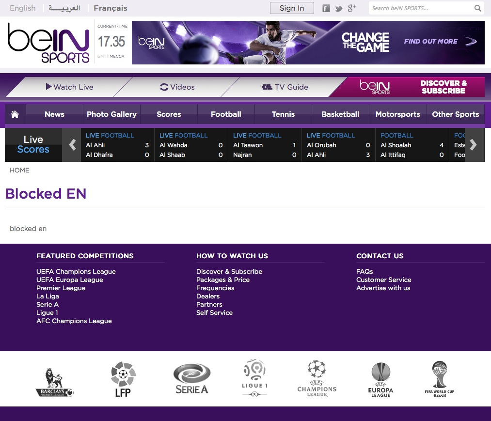 bein Sports subscription - blocked