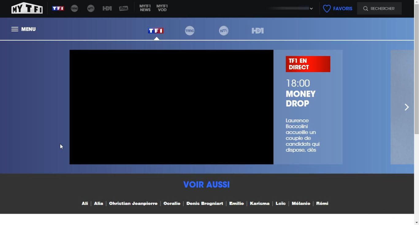 TF1 live stream black screen, blocked