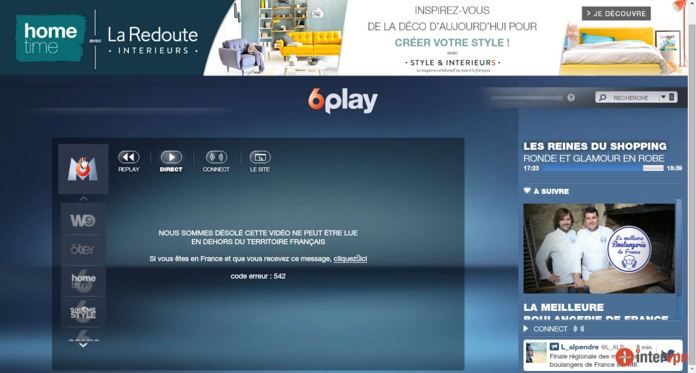 6play, M6 live stream erreur : code 542 , W9 blocked