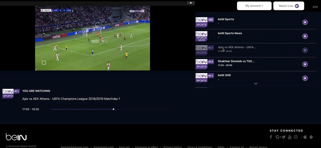 unlock bein Sports HD1 abroad outside - http forbidden Error