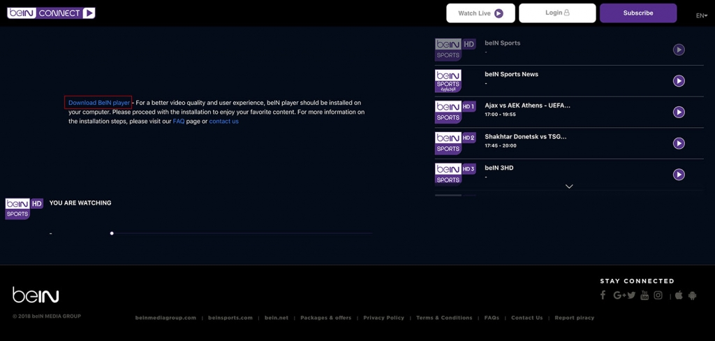 unlock bein Sports connect abroad outside mena - http forbidden Error