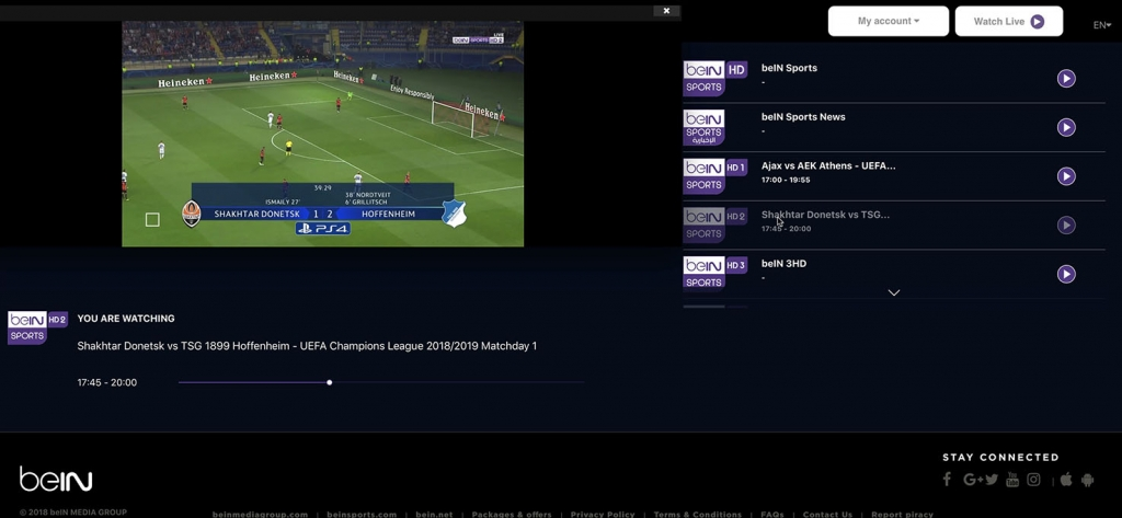 unlock bein Sports HD2 abroad outside - http forbidden Error