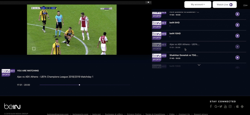 unlock bein Sports HD11 abroad outside - http forbidden Error