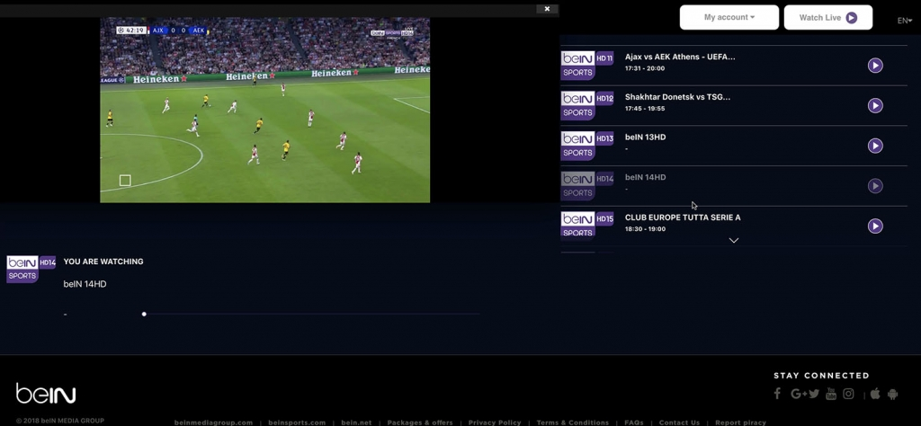 unlock bein Sports HD14 abroad french - http forbidden Error