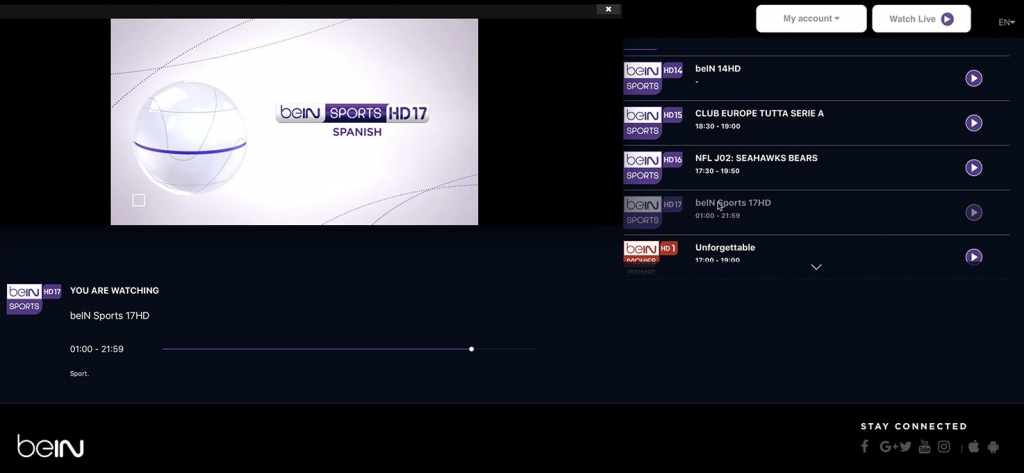 unlock bein Sports HD17 abroad spanish - http forbidden Error