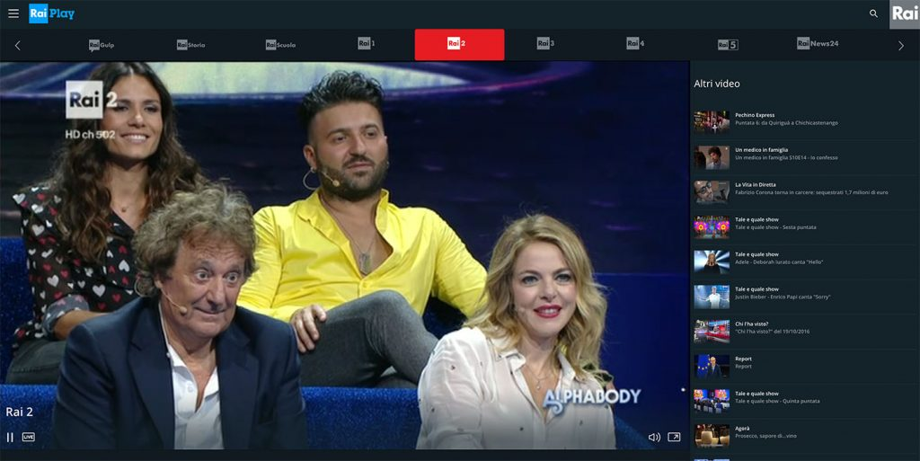 Watch live Rai 2 dirette - Raiplay abroad outside Italy