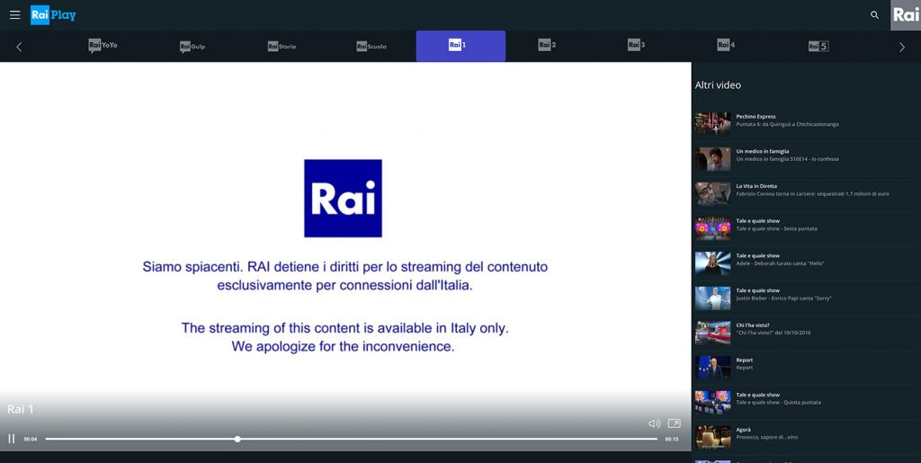 Watch Rai TV - Raiplay streaming available in Italy only