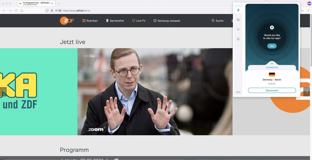 watch ZDF info channel outside Geramany