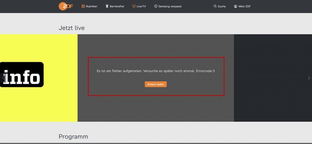 watch ZDF outside Geramany Blocked errorcode:3