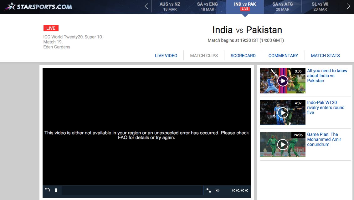 star sports live video not available in your region