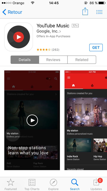 youtube music gratuit hors des Etats Unis US apple iOS