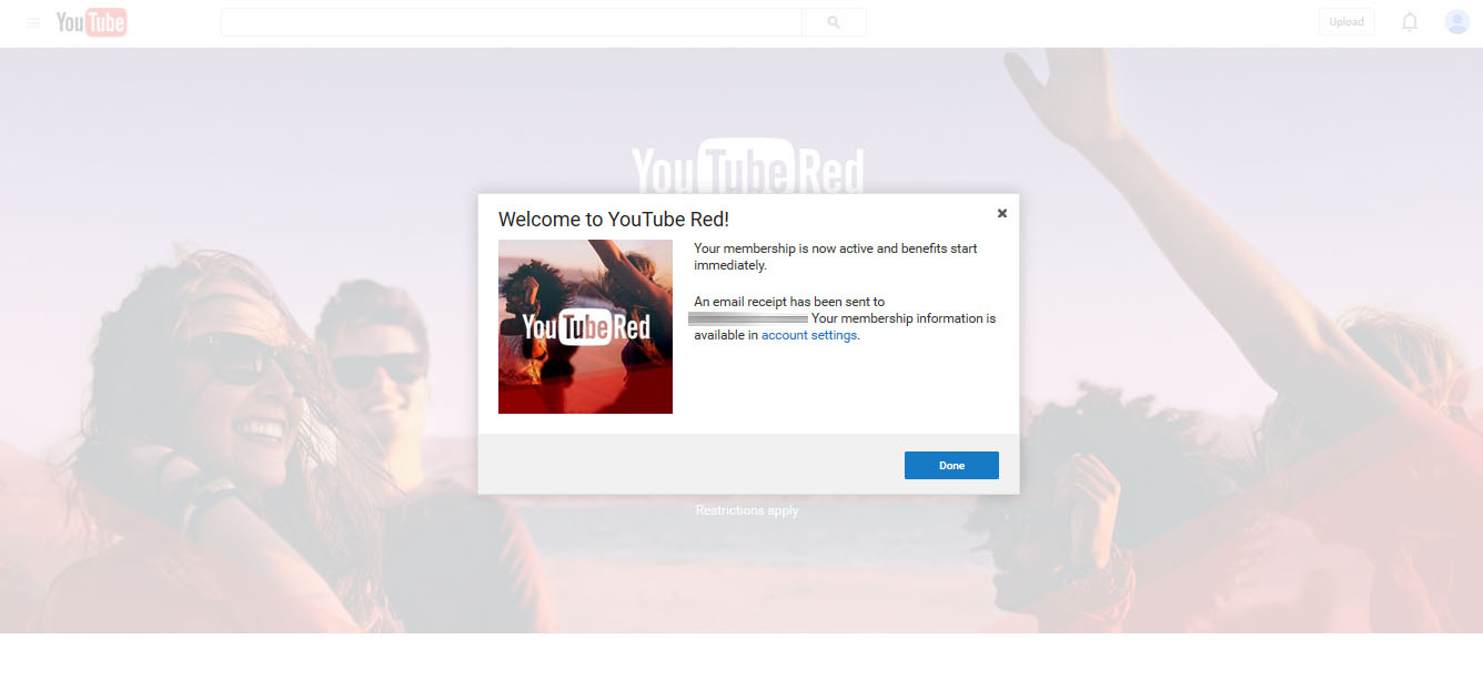 free account Youtube Red outside US