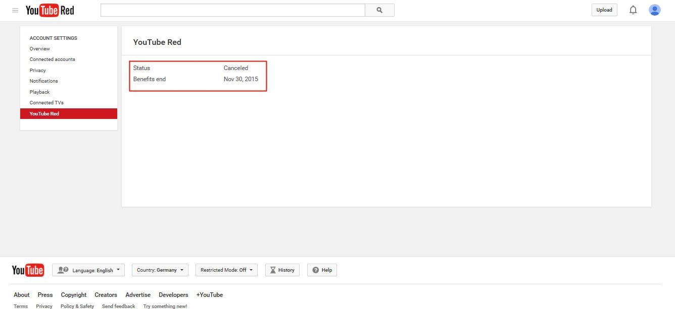 annulé abonnement compte Youtube Red hors des Etats Unis