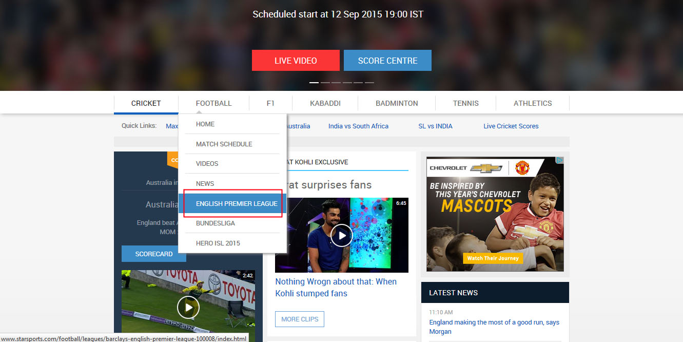 watch live free english premier league and replay stream on Star Sports