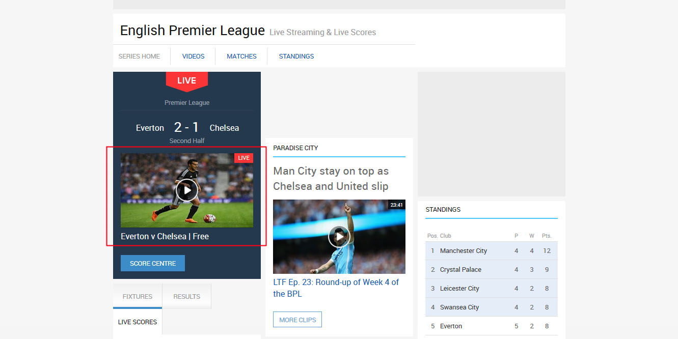 free english premier league scores and replay