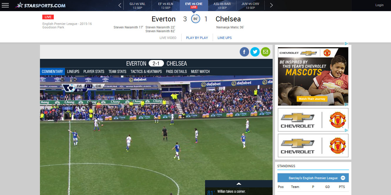 watch free english premier league live stream Star Sports
