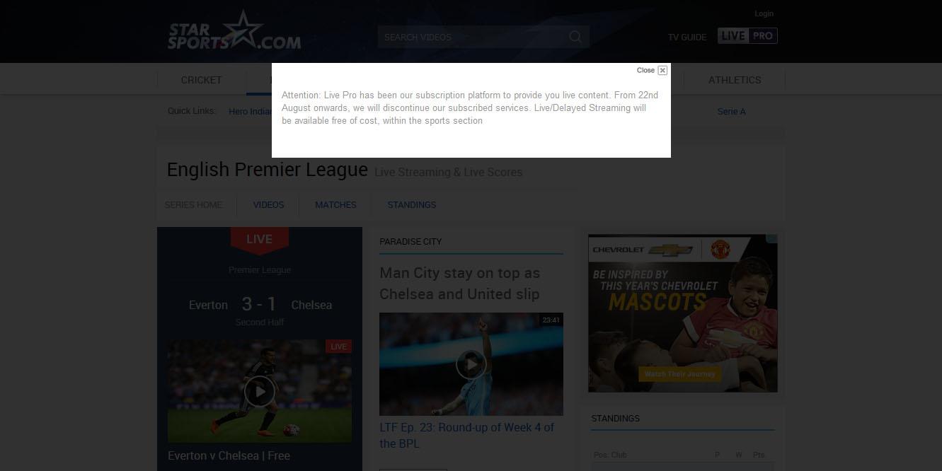 free english premier league live stream