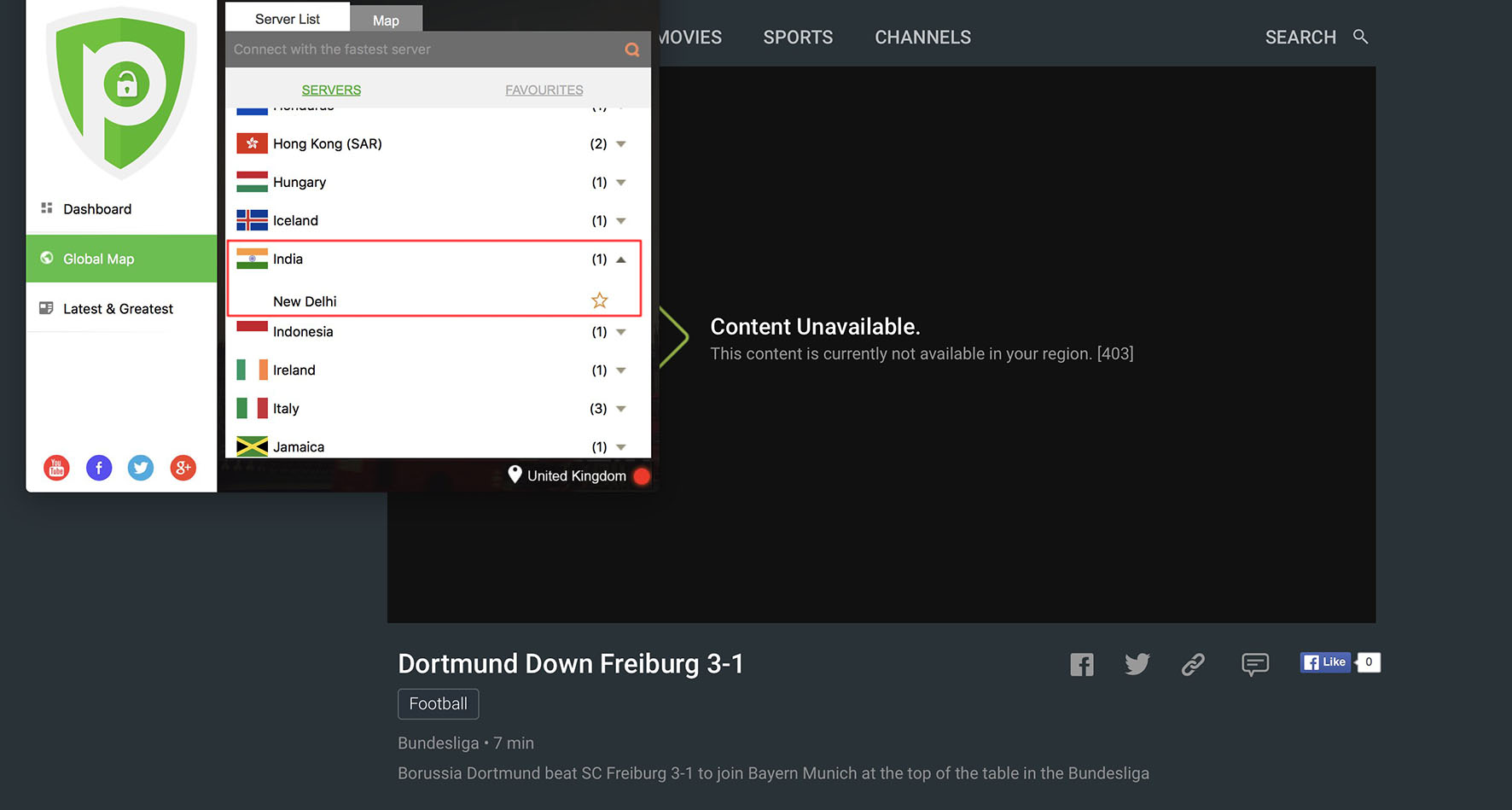 content unavailable hotstar bundesliga live stream VPN unblock