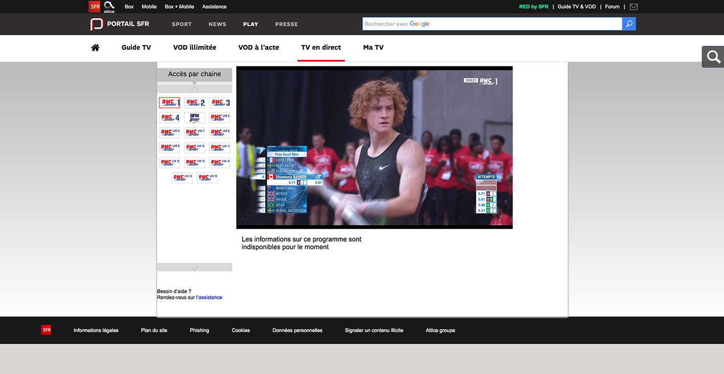 Stream RMC Sport abroad outside france