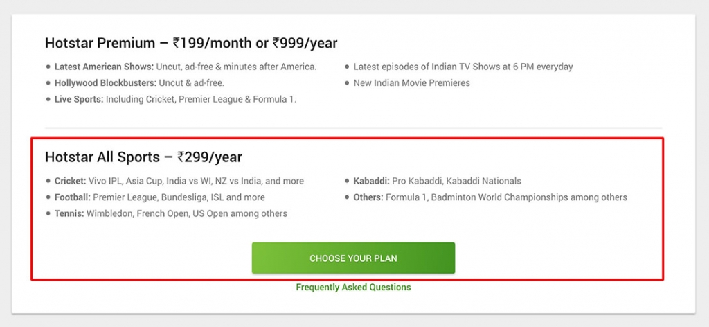 buy and watch hotstar all sports