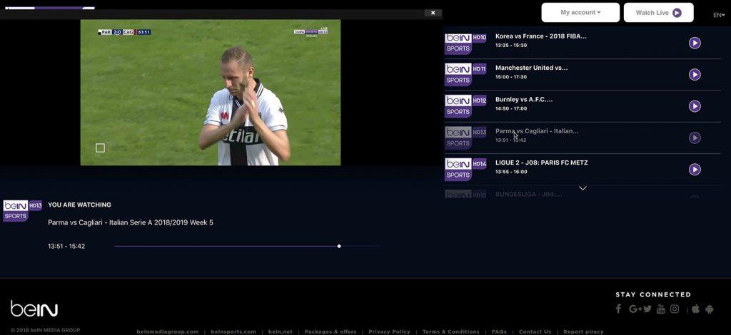 watch bein Sports in uk - http forbidden error