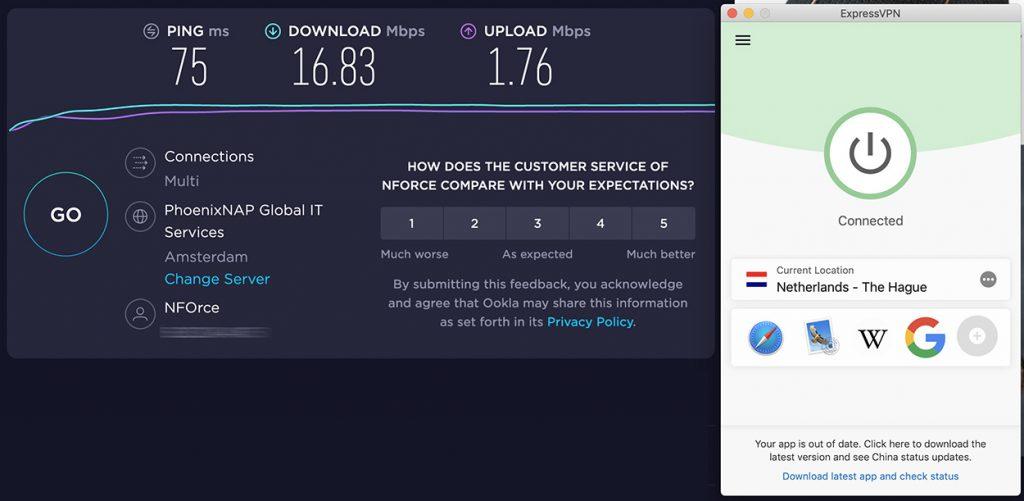Speedtest of ExpressVPN and speed review of Netherlands VPN server of ExpressVPN