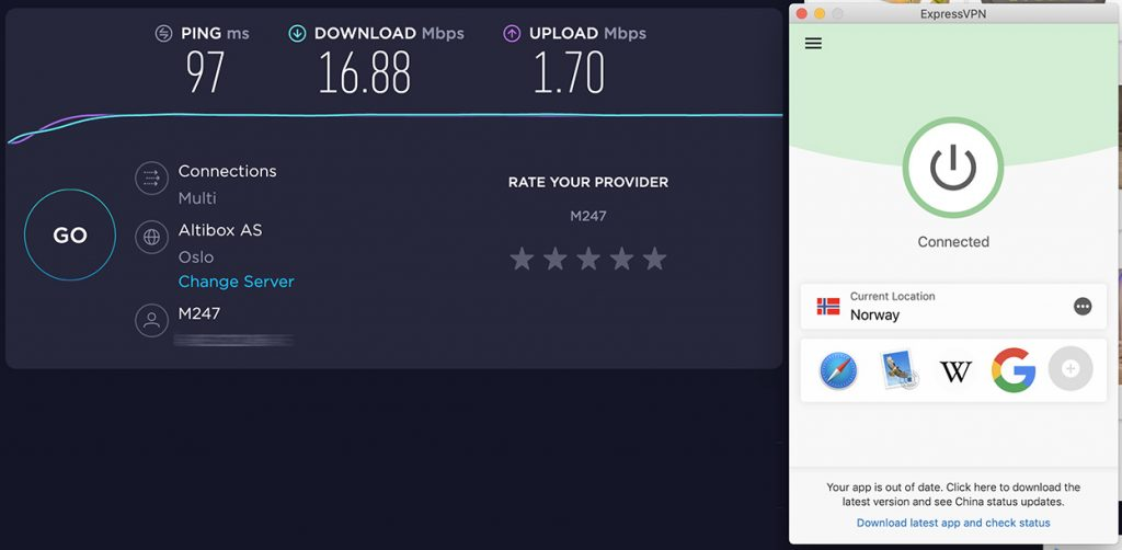 Speedtest of ExpressVPN and speed review of Norway VPN server of ExpressVPN