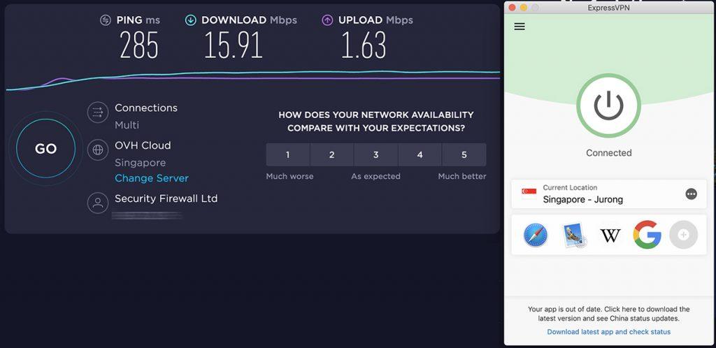 Speedtest of ExpressVPN and speed review of Singapore VPN server of ExpressVPN
