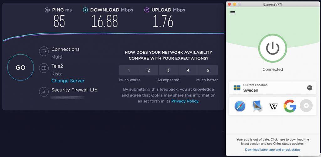 Speedtest of ExpressVPN and speed review of Sweeden VPN server of ExpressVPN