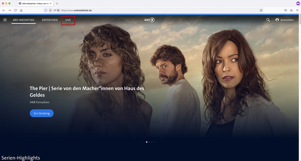 ARD Mediathek site