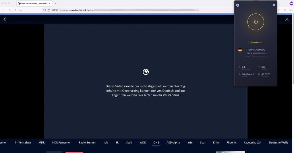 ARD Mediathek Channel work abroad unblocked by cyberghost VPN