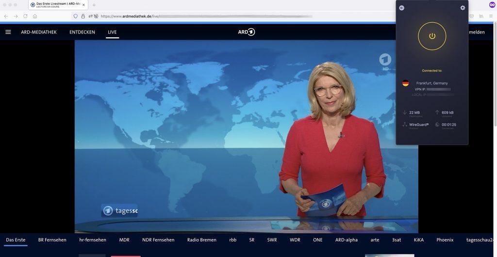 Livestream Das Erste outside Germany