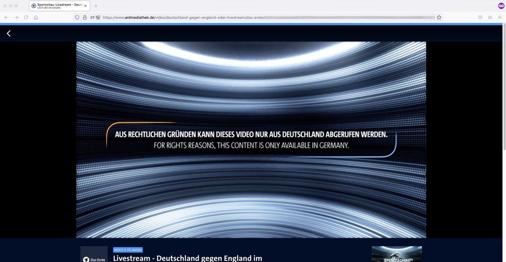 ARD Mediathek abroad Livestream geoblocking error