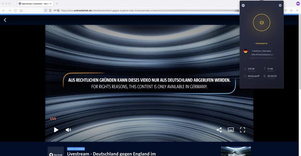 ARD Mediathek abroad Livestream working VPN
