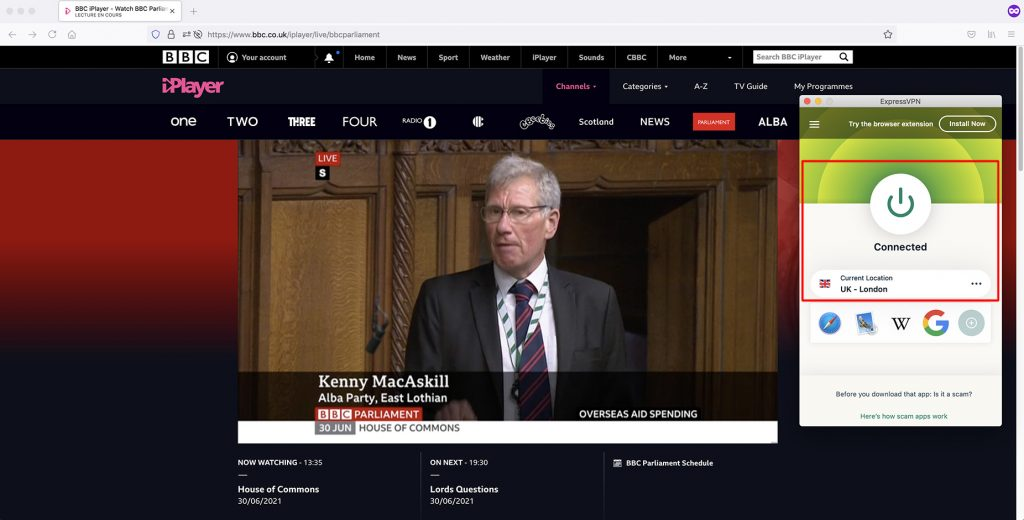 Watch BBC Parliament outside UK