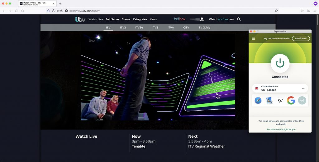 iTV outside UK works with VPN