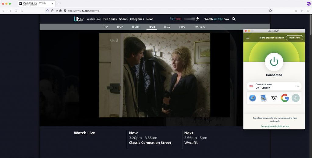 iTV3 outside UK works with VPN