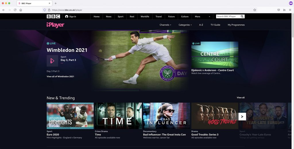 BBC iPlayer home page with vpn