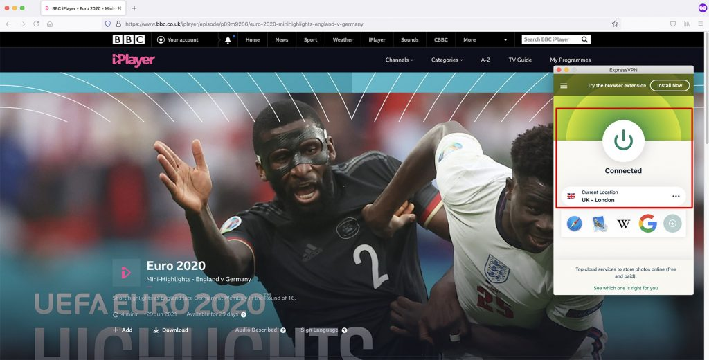 BBC Sports page - Euro 2020 abroad with VPN