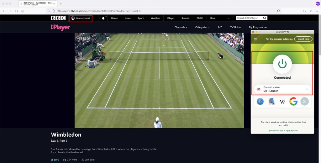 Watch BBC Sports - Wimbledon abroad with VPN