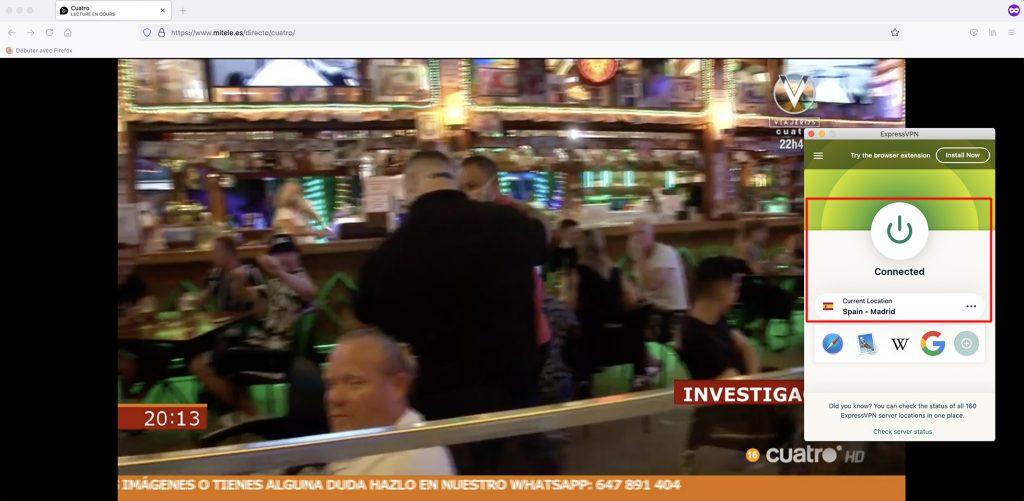 Mitele outside Spain - Cuatro Live Stream abroad